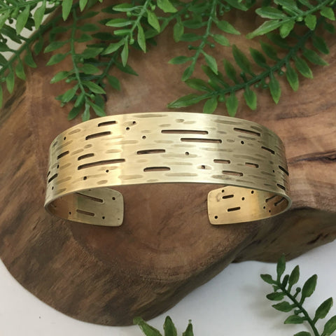 Gold Birch Bark Cuff Bracelet in Brass
