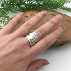 Wrapping Silver Birch Bark Ring