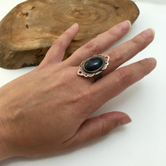 Mixed Metals Black Lace Agate Ring - Size 8