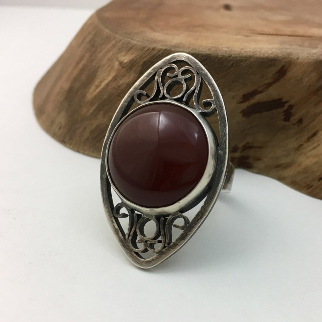Carnelian Ornate Cocktail Ring