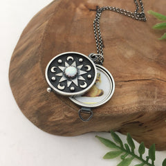 Silver Photo Locket With Stars & Moon