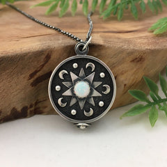 Silver Mandala Locket Necklace