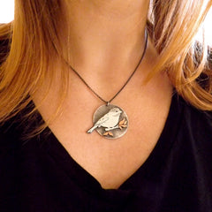 Chickadee Necklace in Mixed Metals