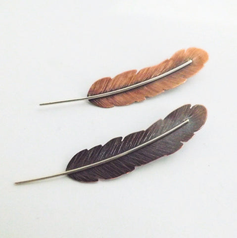 Copper Feather Brooch