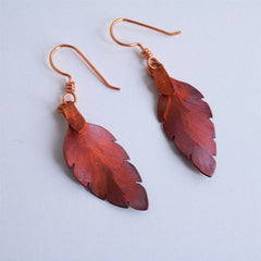 Leaf Earrings Handcrafted In Copper
