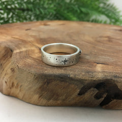Handmade Silver Wedding Band Stargazer