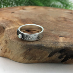 Artisan Wedding Band for Her with Crescent Moon & Stars