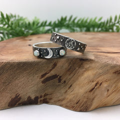 His & Hers Unique Wedding Bands Handmade in Silver