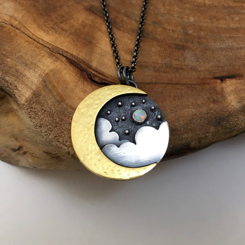 Gold Crescent Moon & Clouds Pendant