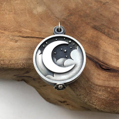Silver Crescent Moon Locket