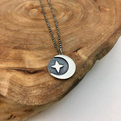 Silver Crescent & North Star Charm