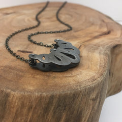Layered Silver Pendant Dark Patina