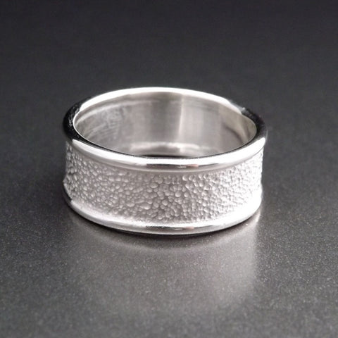 Silver Wedding Band with Dapple Texture