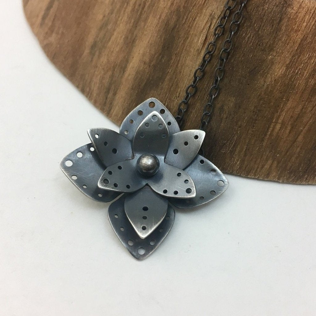Dark Sterling Silver Flower Pendant