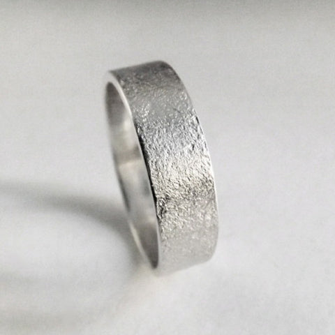 Frosted Silver Wedding Band