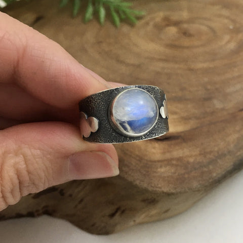 Moonstone in Clouds Ring - Size 8.5