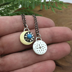 Gold Crescent Moon & Starburst with Turquoise