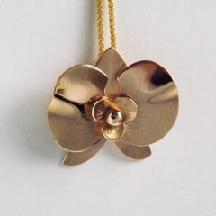 14k Gold Orchid Handcrafted