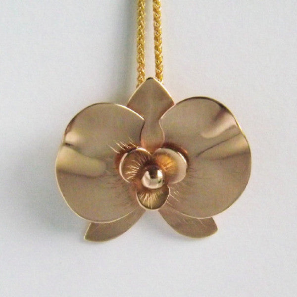 Gold Orchid Pendant - Close View