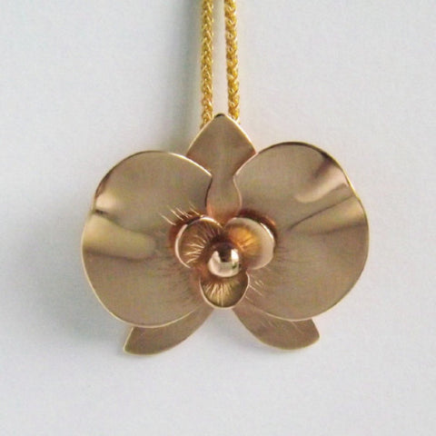 14k Yellow Gold Orchid Pendant