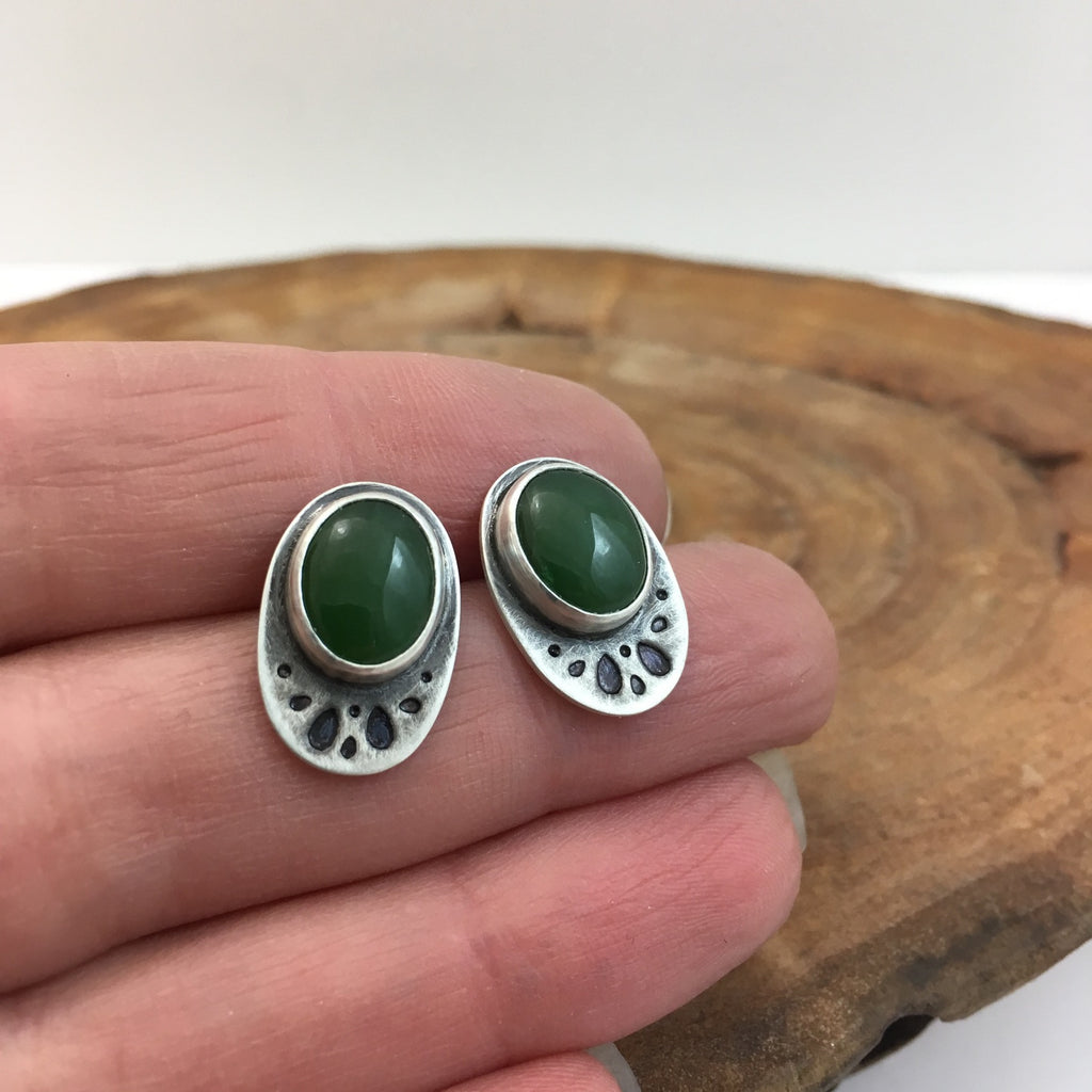 Jade and Silver Stud Earrings