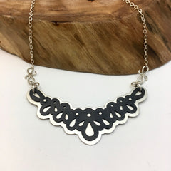 Lace Layered Mixed Metals Necklace
