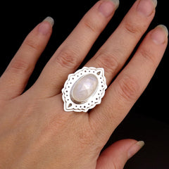 Moonstone Ring with Ornate Setting