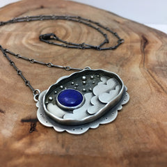 Night Sky Blue Moon Necklace