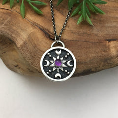 Amethyst Mandala Charm Necklace
