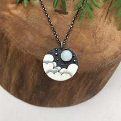 Cloudy Night Opal Necklace