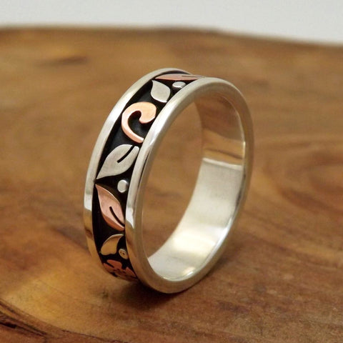 Mixed Metal Floral Wedding Band
