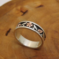 Silver & Copper Floral Band - Size 9.5