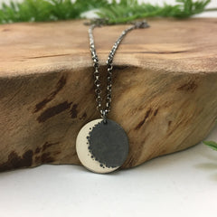 Silver Crescent Moon & Earthshine Charm