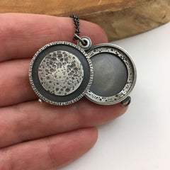 Full Moon Silver Locket
