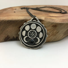 Moon Phases & Galaxy Pendant