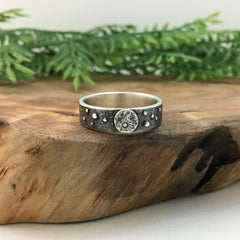 Moon Ring - Men's Silver Wedding Band