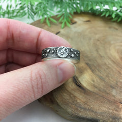Handmade Wedding Band Moon & Stars
