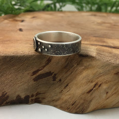 Rough Silver Wedding Band For Men & Women