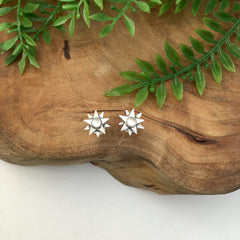 Silver Starburst Earrings with Moonstone