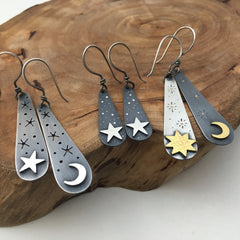 Sun Moon & Star Handcrafted Earrings