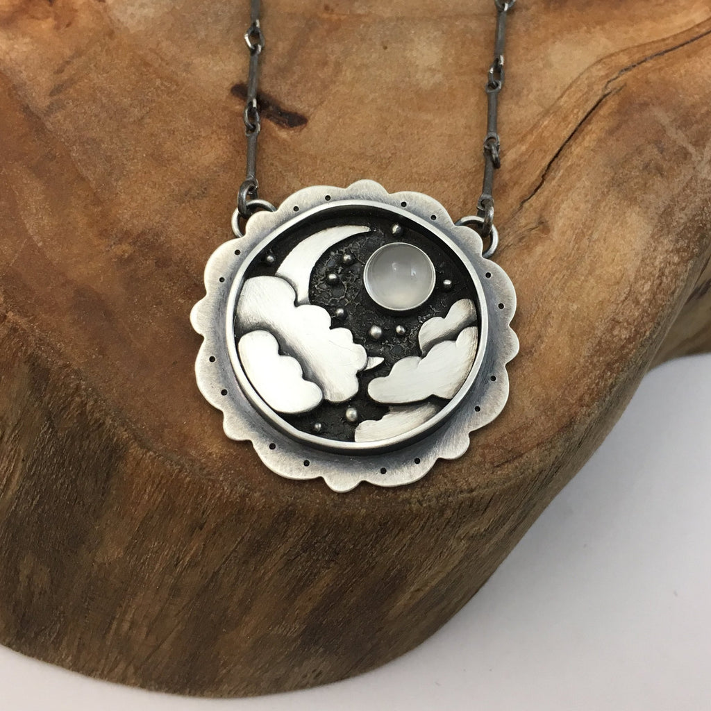 Night Sky & Crescent Moon - Moonstone