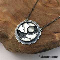 Clouds, Star & Moonstone Pendant