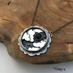 Clouds, Stars & Onyx Necklace