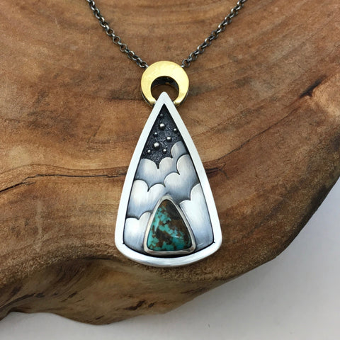 Night Sky Portal - Silver & Turquoise Pendant