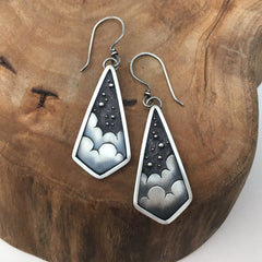 Night Sky Celestial Art Jewelry Earrings