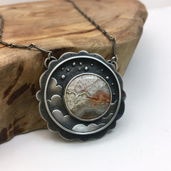 Night Sky Pendant with Lace Agate