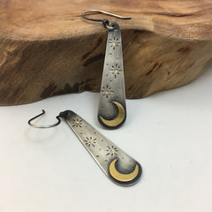 Silver & Gold Crescent Moon Earrings