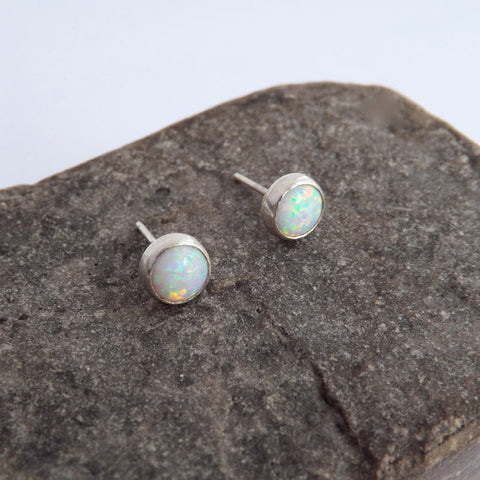 Opal & Silver Stud Earrings