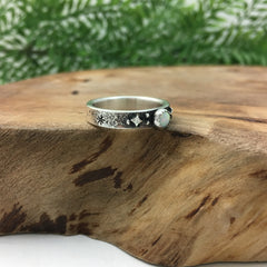 Silver Star & Opal Wedding Band Handcrafted