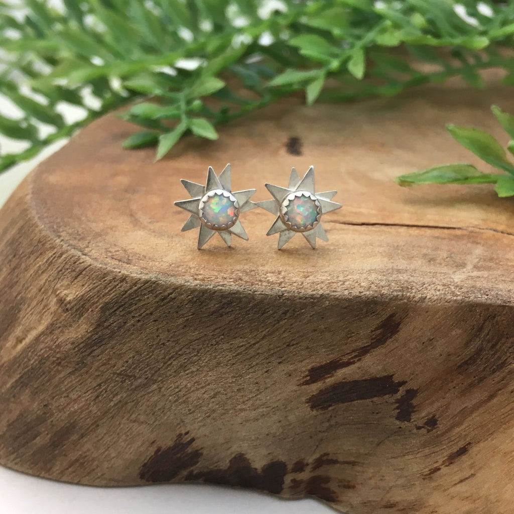 Silver Starburst Earrings with Opal